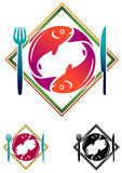 Fish food. Isolated illustrated fish food logo design Royalty Free Stock Image