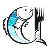 Fish with knife and fork silhouette. Fish for food with a knife and fork silhouette Royalty Free Stock Photography