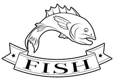 Fish food label. Fish or seafood food label of a fish and banner reading fish Stock Images
