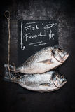 Fish food lettering on black chalkboard with two raw whole dorado fishes on dark vintage background, top view. Seafood Stock Images