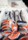 Fish Food in a Fish Market Stand. Raw Fish Food in a Fish Market Stand royalty free stock photography