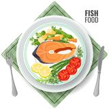 Fish food roasted salmon meat set vector illustration. Fish food roasted salmon meat set. Slice served with vegetables lemon and tomatoes, dill and green pea Royalty Free Stock Image