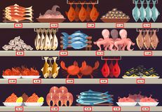 Fish food at shop or store stall with prices. Restaurant or shop, store or supermarket stall or showcase with fresh fish food, crab and octopus, squid and Stock Photography