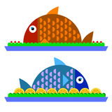 Fish food vector dinner dish plate. Meal Royalty Free Stock Images