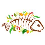 Fish food vector. Dish of fish with vegetables illustration Royalty Free Stock Images