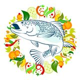 Fish food with vegetables. Fish meal dish with vegetables illustration Royalty Free Stock Photos