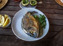 Fish food on white plate with lemon. Royalty Free Stock Photos