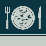 Fish, Fork and Knife icon Stock Image