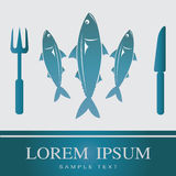Fish, Fork and Knife icon Royalty Free Stock Image