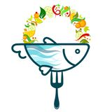 Fish on a fork with vegetables. Fish food on a fork with vegetables vector Royalty Free Stock Photo