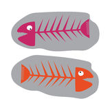 Fish fossil pink and orange,funny isolated. Fish fossil pink and orange,funny Stock Photography