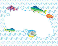 Fish Frame Blue Waves Vector Doodle Art Royalty Free Stock Photo