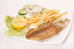 Fish with french fries Royalty Free Stock Image