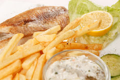 Fish with french fries Royalty Free Stock Photography