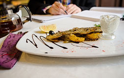 Fish in a French restaurant Royalty Free Stock Images