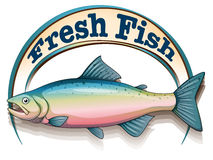 A fish with a fresh fish label. Illustration of a fish with a fresh fish label on a white background Stock Photography