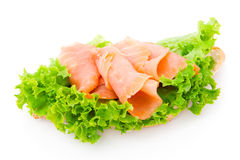 Fish and fresh lettuce Stock Images