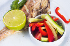 Fish with fresh vegetables Stock Photography