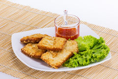 Fish fride with vegetable Stock Photos