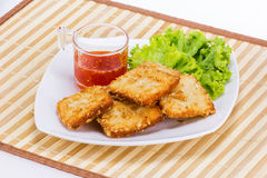 Fish fride with vegetable Stock Photography