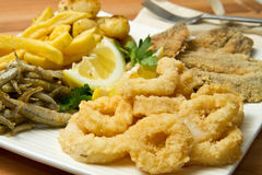 Fish fried. A dish with different fish fried and potatoes stock photos