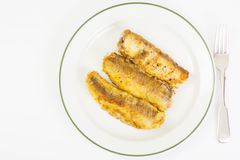 Fish fried in breadcrumbs Stock Images