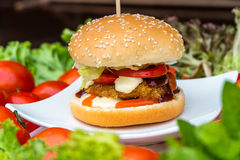 Fish fried burger Royalty Free Stock Images