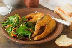 Fish fried in corn flour, served with salad, bread and wine. Stock Photography