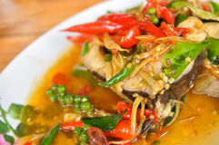 Fish fried foods, spices, Thailand Stock Photos