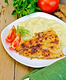 Fish fried with mashed potatoes Stock Photo