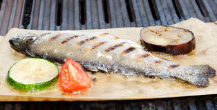 Fish. Is fried on paper on a grill together with tomato and zucchini Royalty Free Stock Photography