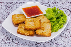Fish fried with vegetable Stock Photography