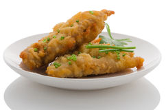 Fish fritters. Plate with some fish fritters on a white background Stock Image