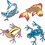 Fish and frogs. Vector images of miscellaneous fish and frogs. Set of illustrations Stock Images
