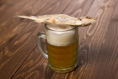 Fish on frothy beer Stock Photo