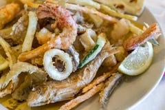 Fish fry close up. Seafood. Italian gourmet food Stock Photo
