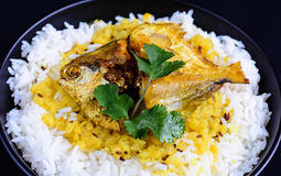 Fish Fry. Indian Fish Fry With Daal Rice Stock Photos
