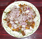 Fish fry served on plate. A plate of fish fry ,garnished with onions,chillies and cucumber Stock Image