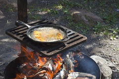 Fish frying in a cast iron pan on an outdoor grill Royalty Free Stock Photo