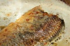 Fish frying in pan Stock Photos