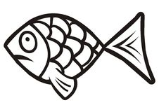 Fish,fun. Fish, black and white humorous illustration Stock Photo
