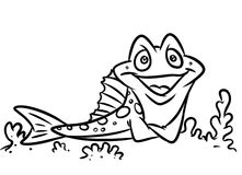 Fish funny coloring pages Stock Photo