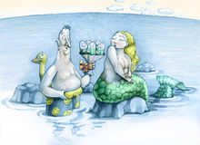 Fish. A funny man gives a mischievous mermaid a bouquet of flowers made from fish Royalty Free Stock Images