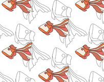 Fish is funny in manner of fairy tales. Cartoon colourful fish. Fish is funny in the manner of fairy tales. Cartoon colourful fish. seamless pattern Royalty Free Stock Photo
