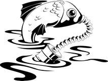 Fish in gas mask. Environmental contamination. Vector illustration Stock Photo