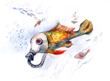 Fish with gas mask (series C) Royalty Free Stock Photo