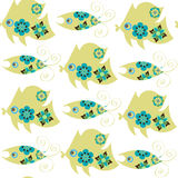 Fish gentle colors seamless pattern and seamless pattern in swat. Ch menu, vector . Cute texture for design surface, apparel, dishes and other purposes Royalty Free Stock Photo