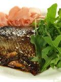 Fish, ginger, arugula royalty free stock images