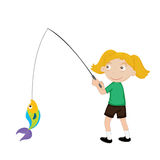Fish girl. Blonde girl fishing illustration on a white background Stock Photography