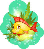 Fish. Goldfish against water and bubbles vector illustration